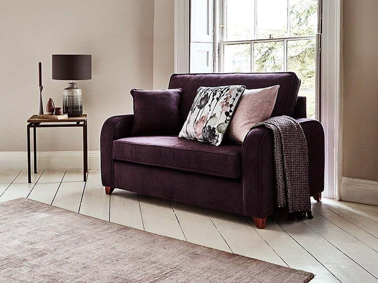 This is how I look in Stain Resistant Linen Cotton Aubergine with reflex foam seat cushions