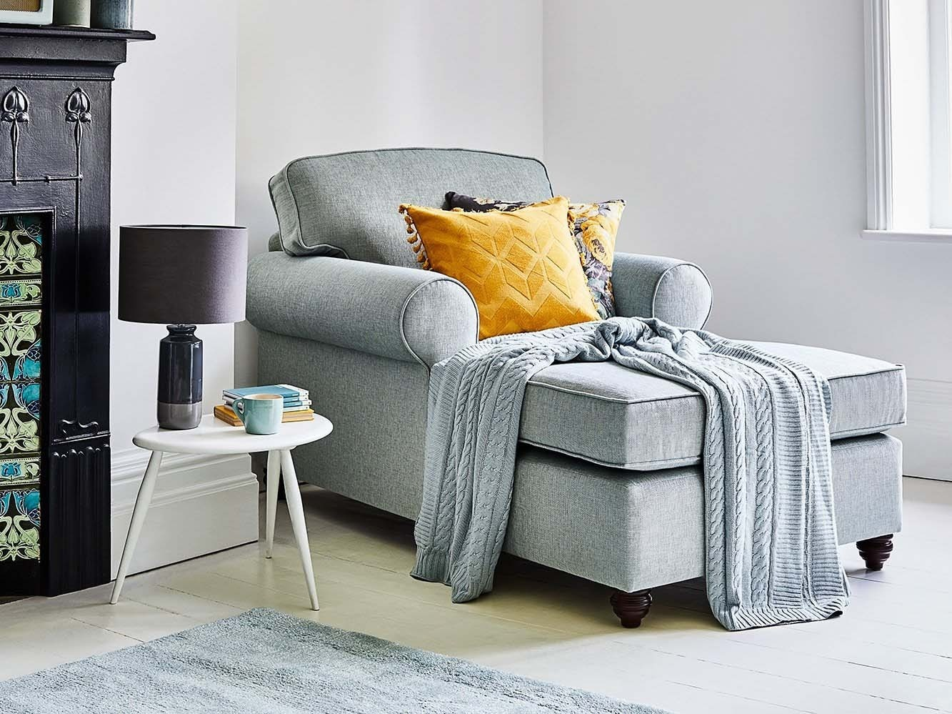 This is how I look in Stain Resistant Linen Cotton Nordic Blue with reflex foam seat cushions