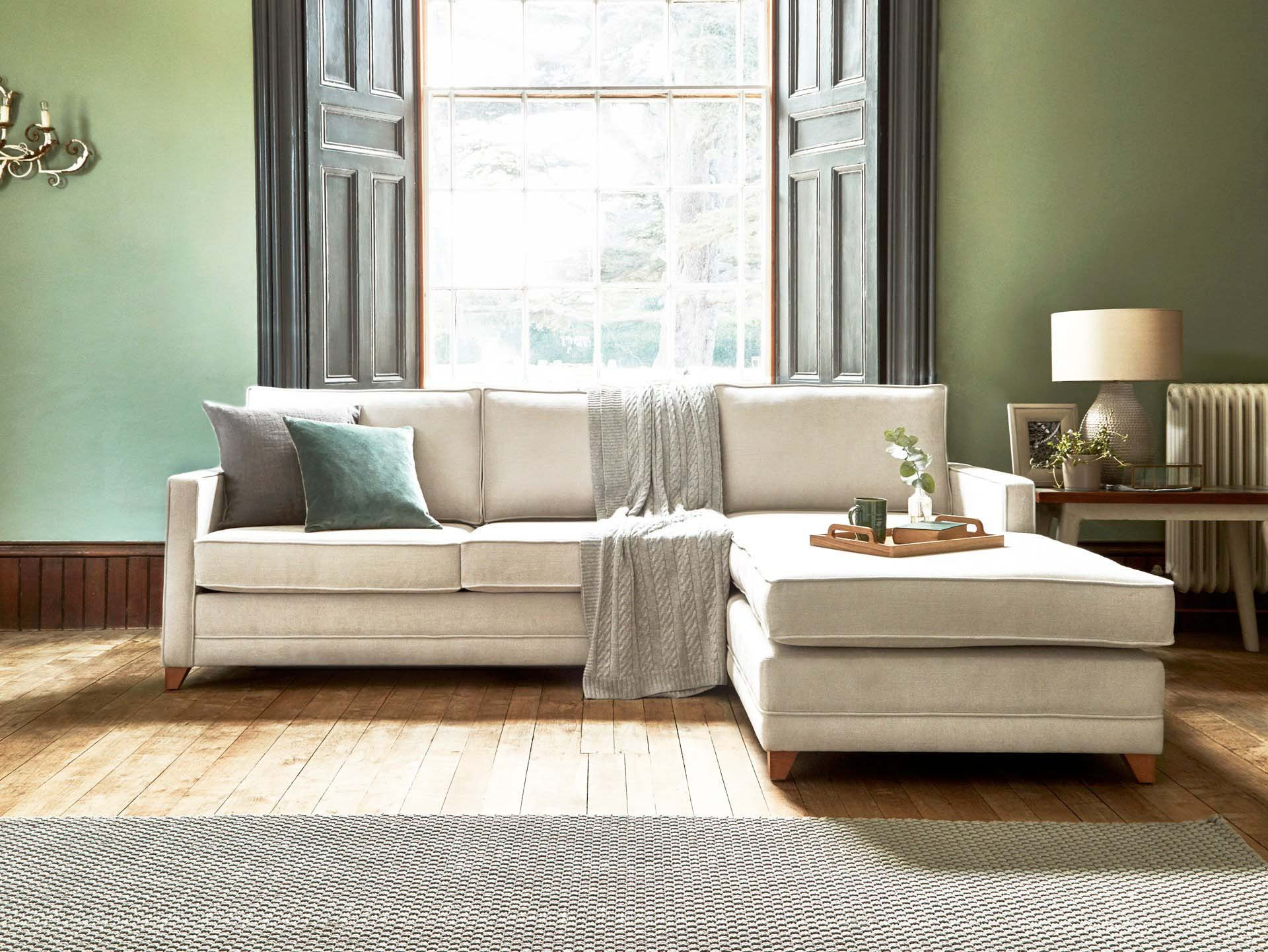 This is how I look in Stain Resistant Linen Cotton Stone as a right side chaise with reflex foam seat cushions