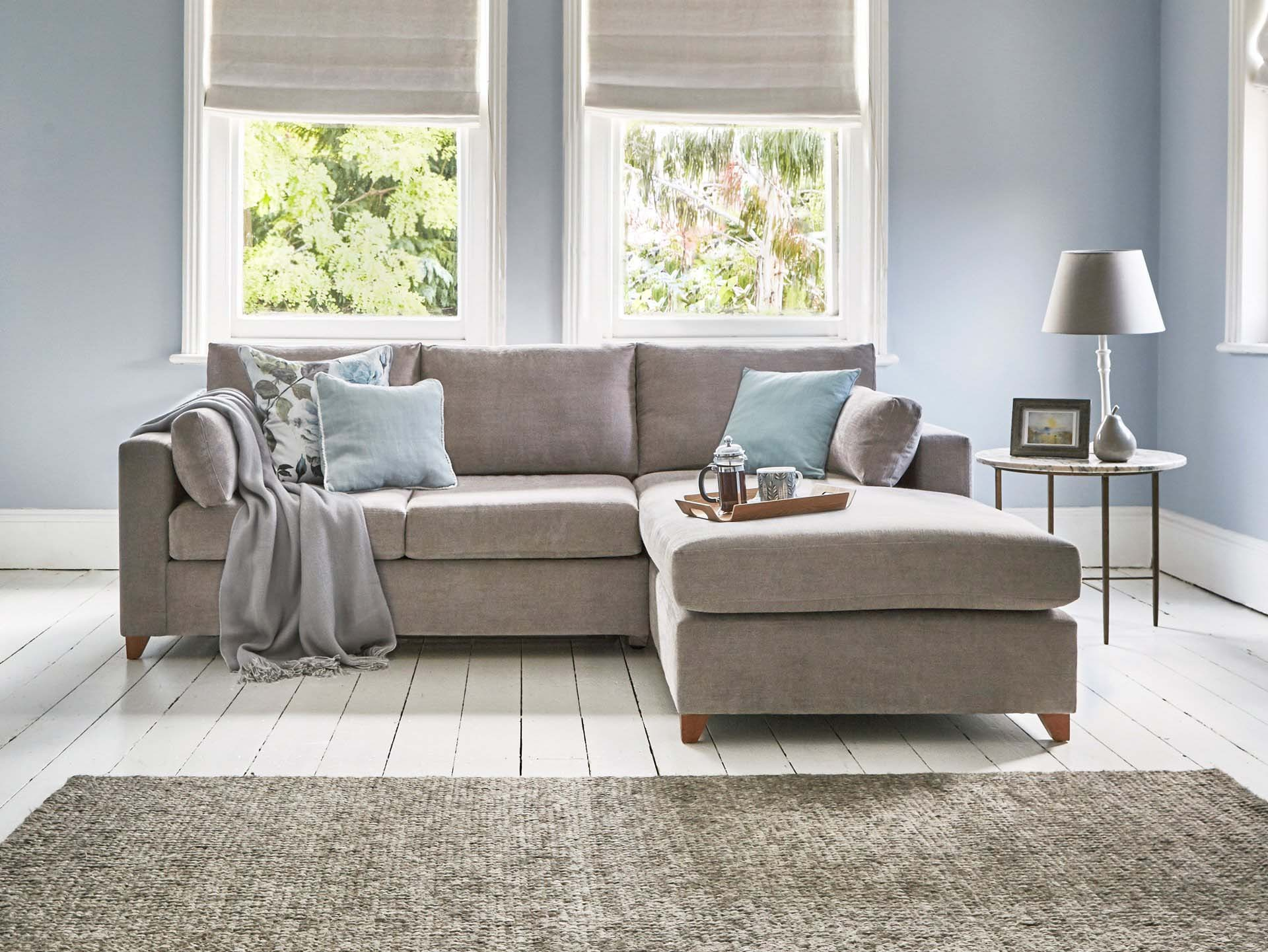 This is how I look in Stain Resistant Linen Cotton Dove as a right side chaise with reflex foam seat cushions
