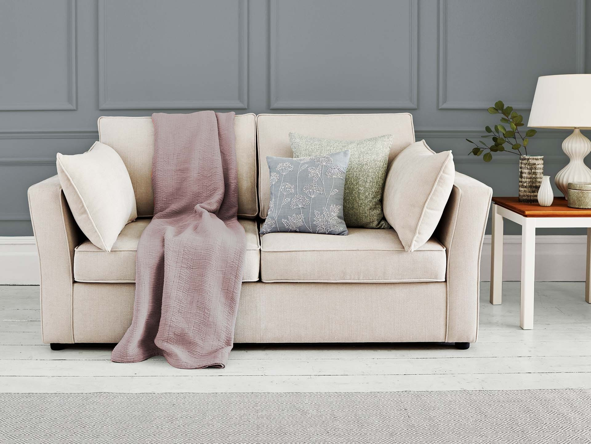 This is how I look in Stain Resistant Linen Cotton Stone with reflex foam seat cushions