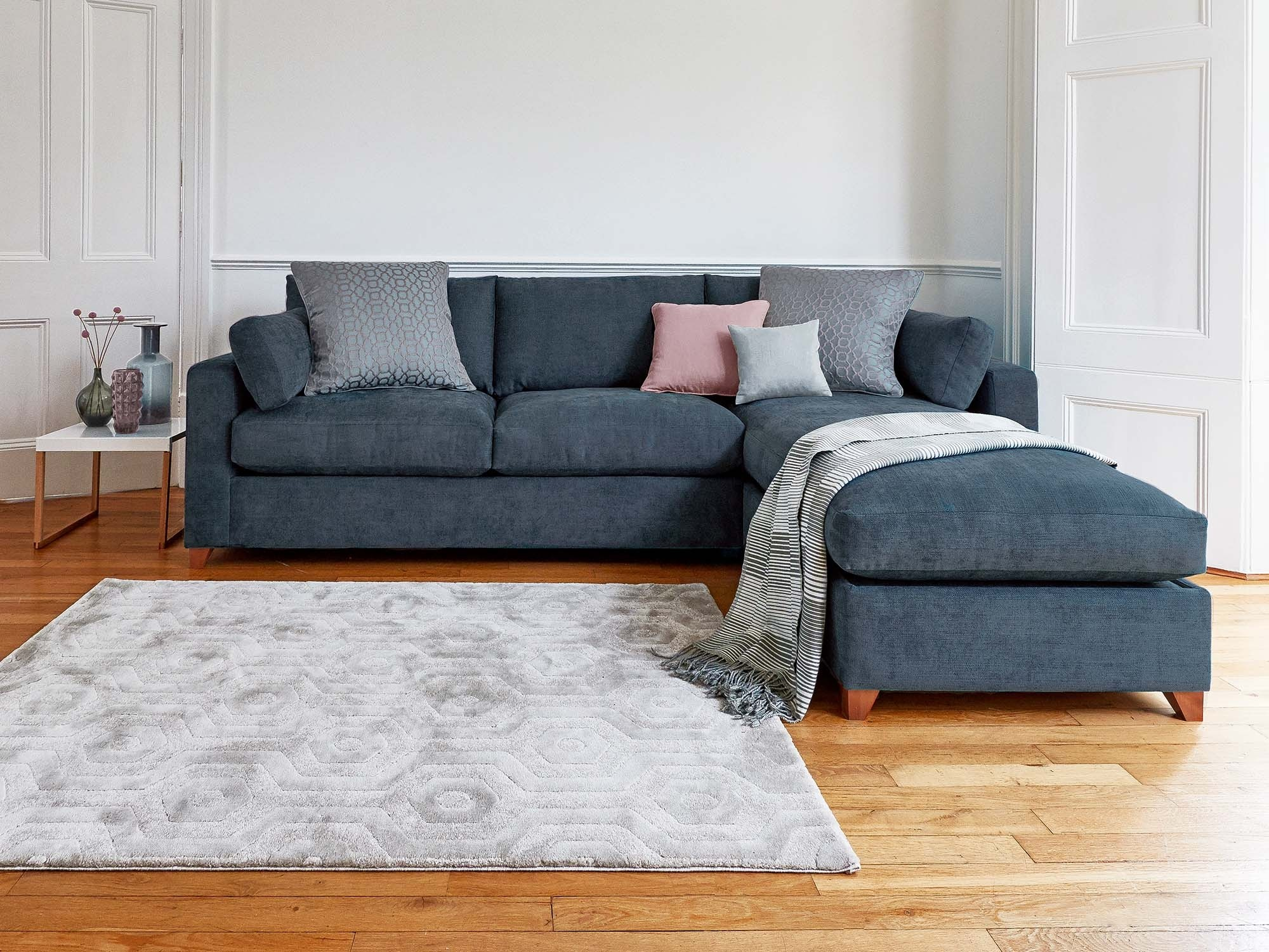 This is how I look in Stain Resistant Linen Cotton French Navy with reflex foam seat cushions with a right storage chaise