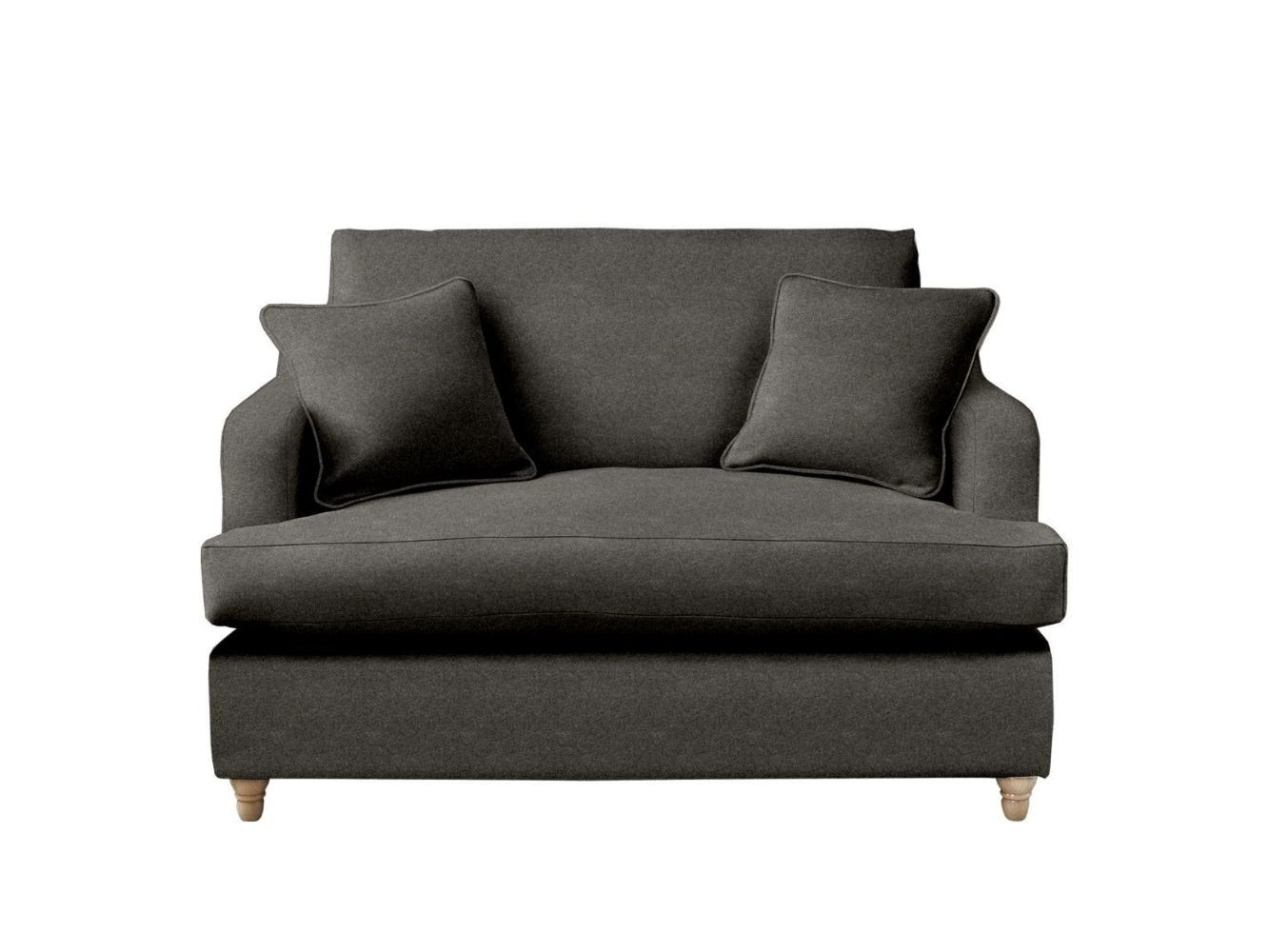 This is how I look in Stain Resistant Wool Charcoal with a feather-wrapped foam seat cushion