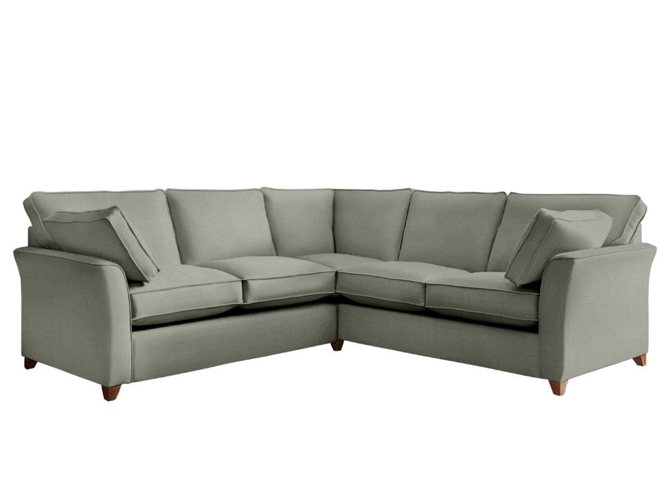 This is how I look in Stain Resistant Linen Cotton Pewter with feather-wrapped foam seat cushions