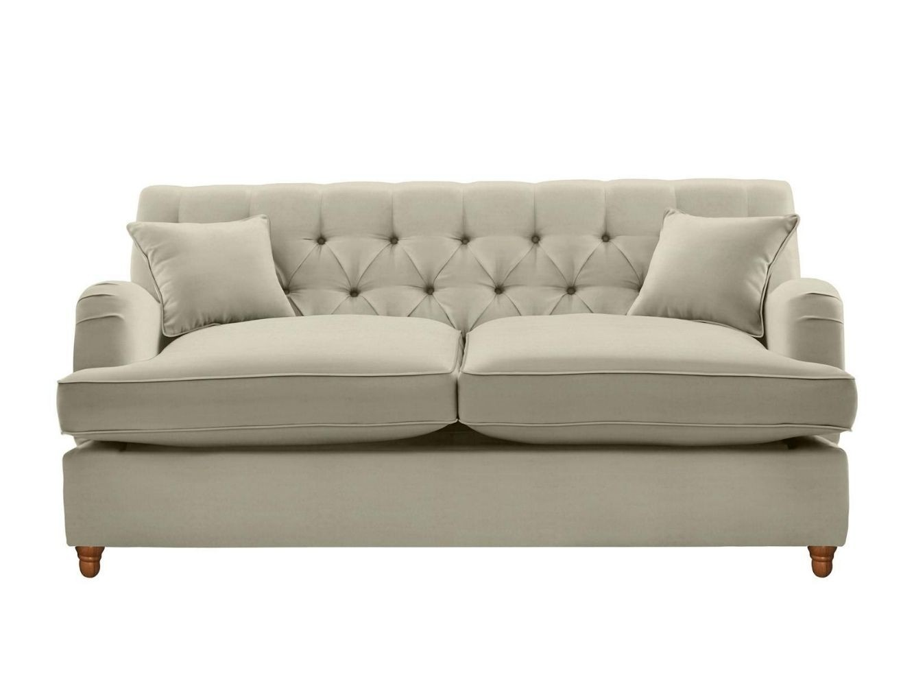 This is how I look in Stain Resistant Deep Velvet Fawn with feather-wrapped foam seat cushions