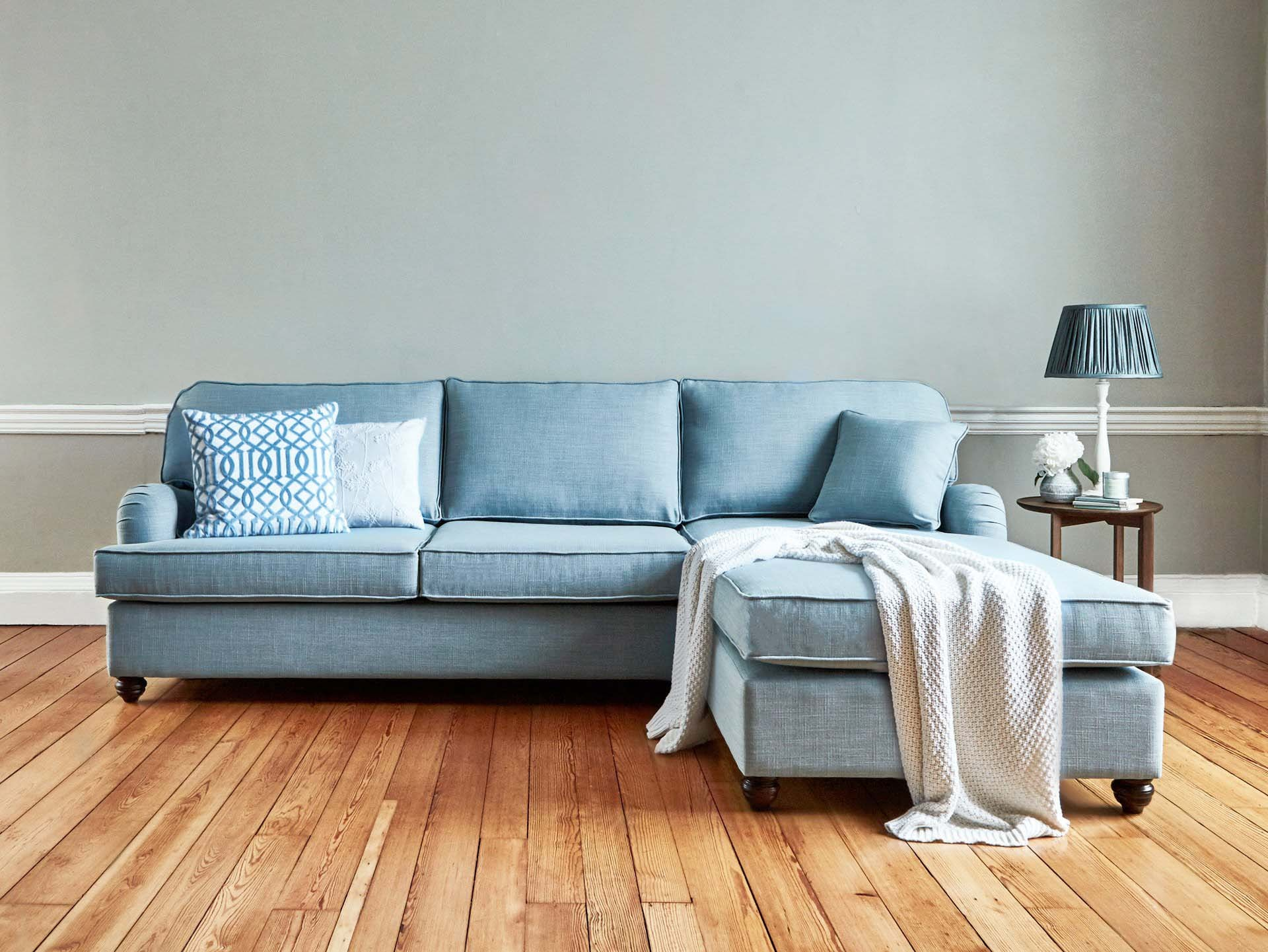 This is how I look in House  Linen Vintage Blue as a right side chaise with reflex foam seat cushions